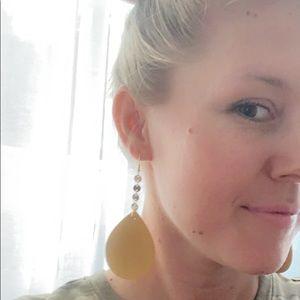 Fashion Blvd Jewelry - LAST PAIR Gold + Mustard Leather Drop Earrings